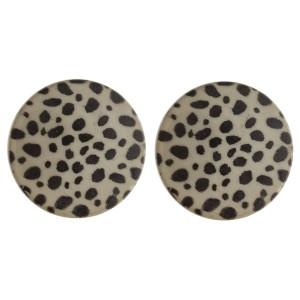 """Large stud hoop earrings with animal print. Approximate 1"""" in diameter."""