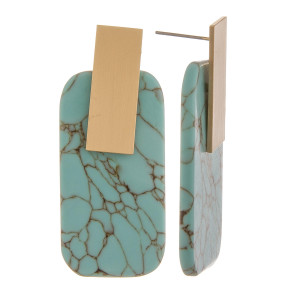 """Natural stone solid rectangle earrings with gold post. Approximate 1"""" in length."""