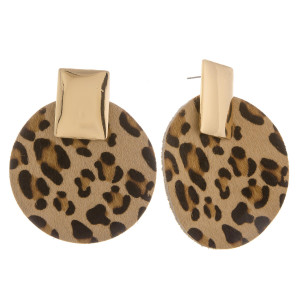 """Long genuine leather animal print earrings with gold post. Approximate 2"""" in length."""