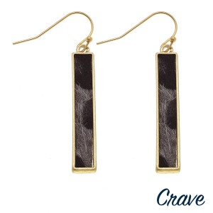 "Long bar crave earrings with animal print detail. Approximate 1.5"" in length."