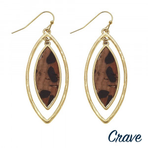 """Long cork drop earring with metal plate. Approximate 2.5"""" in length."""