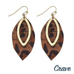 "Long cork leaf earring with metal leaf earring. Approximate 2"" in length."