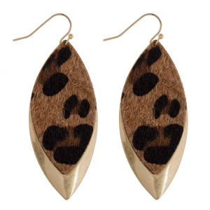 "Long metal leaf earring with animal print detail. Approximate 2.5"" in length."