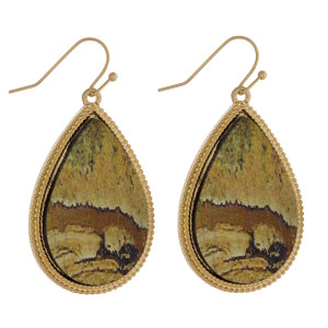 """Long wooden drop earring with metal trim. Approximate 2"""" in length."""