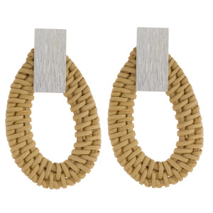 """Long wood earring with metal post detail. Approximate 2"""" in length."""