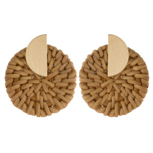 """Long wood earring with metal post detail. Approximate 1"""" in length."""