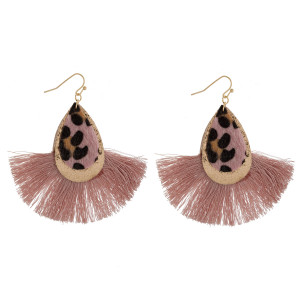 "Long double drop faux leather earrings with tassel. Approximate 3"" in length."