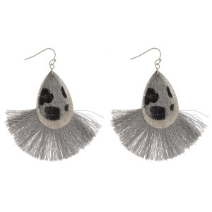 """Long double drop faux leather earrings with tassel. Approximate 3"""" in length."""