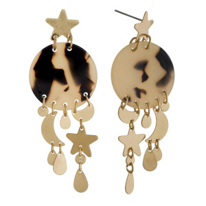"""Long acetate earrings with moon and star charms. Approximate 2"""" in length."""