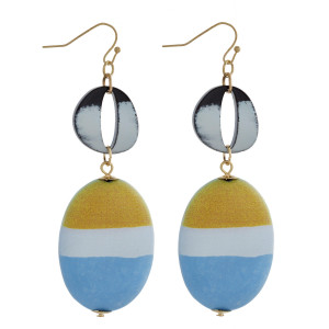"""Long wooden earring with acetate details. Approximate 3"""" in length."""