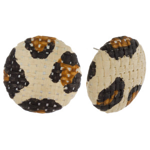 "Short button stud earrings with raffia details. Approximately 1"" in length."