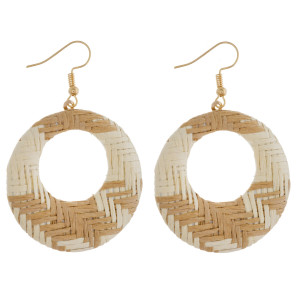 "Circular drop earrings featuring a taupe raffia pattern. Approximately 1.5"" in diameter."