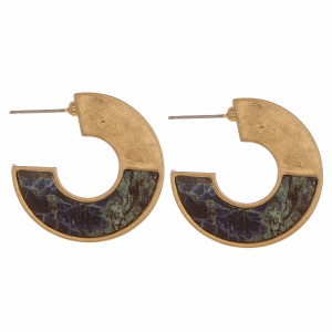 """Metal hoop earrings featuring a wood lapis stone inspired pattern. Measure approximately 1"""" in length."""