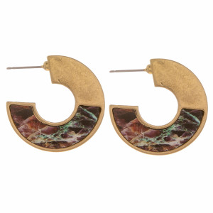 """Metal hoop earrings featuring a wood picasso jasper stone inspired pattern. Measure approximately 1"""" in length."""