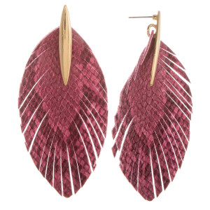 """Long leather feathered earring with gold post. Approximate 4"""" in length."""