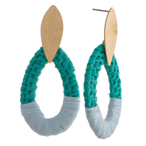"""Rattan woven teardrop earrings featuring raffia wrapped details with a gold metal stud post. Approximately 2.5"""" in length."""