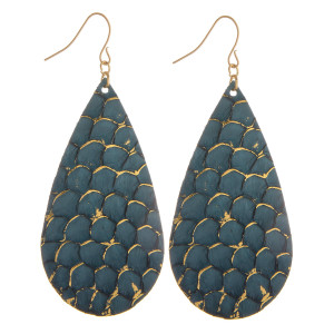 """Long genuine leather drop earring with scale design details. Approximate 3"""" in length."""