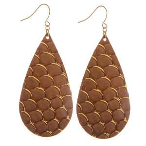 "Long genuine leather drop earring with scale design details. Approximate 3"" in length."