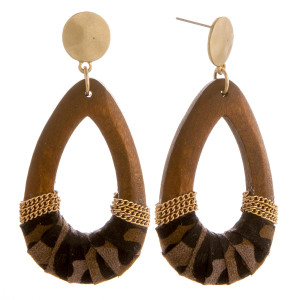 """Long wooden drop earrings with animal print fabric details. Approximately 2.5"""" in length."""