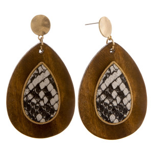 "Long wooden drop earrings with snake skin centered details. Approximate 2.5"" in length."