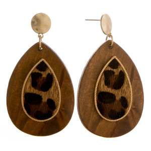 """Long wooden drop earrings with leopard print raised details. Approximately 2.5"""" in length."""