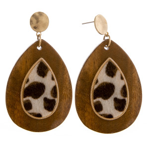 "Long wooden drop earrings with leopard print raised details. Approximately 2.5"" in length."