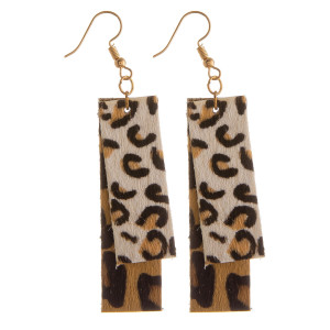 "Long rectangle shaped animal print leather earrings. Approximate 2"" in length."