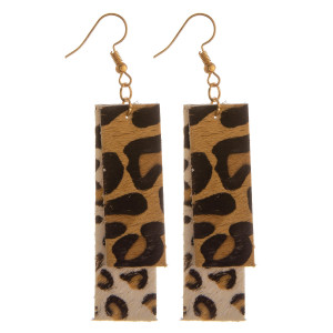 """Long rectangle shaped animal print leather earrings. Approximate 2"""" in length."""