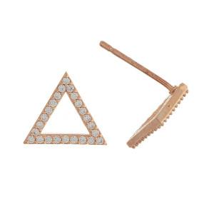 Rhinestone encased triangle stud earrings. Approximately 1cm in length.
