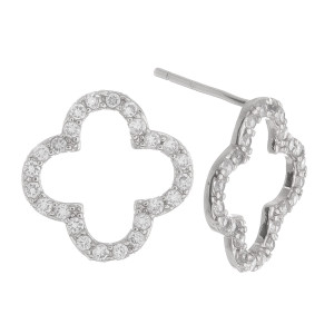 """Short metal clover earring. Approximate .5"""" in length."""