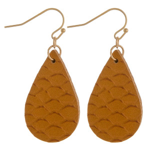 """Faux leather teardrop earrings featuring a mermaid scale inspired pattern. Approximately 1"""" in length."""