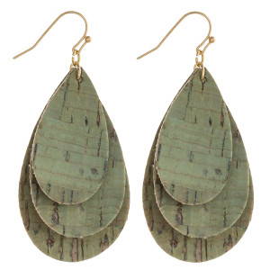 """Trio cork inspired teardrop earrings. Approximately 2"""" in length."""