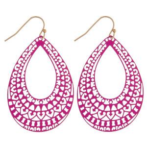 "Long filigree inspired teardrop earrings. Approximately 2"" in length."