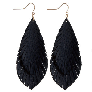 """Long leather textured earrings featuring alligator print. Approximately 3"""" in length."""