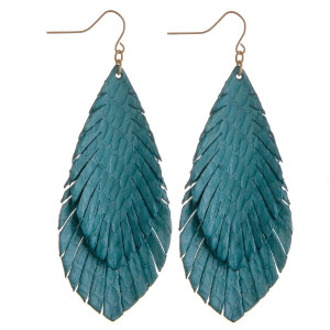 "Long leather textured earrings featuring alligator print. Approximately 3"" in length."