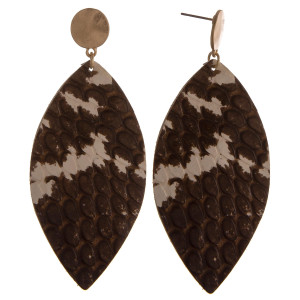 """Long oval earrings featuring snakeskin print. Approximately 3"""" in length."""