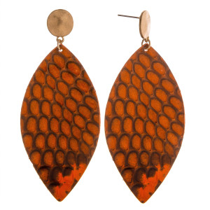 "Long oval earrings featuring snakeskin print. Approximately 3"" in length."