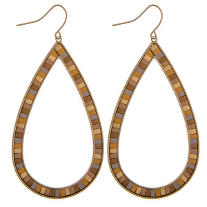 "Large teardrop earrings featuring resin details. Approximately 2.5"" in length."