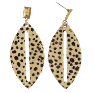 "Fur genuine leather earrings featuring cheetah print and a cut out center detail with a metal stud accent. Approximately 2.5"" in length."
