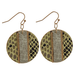 "Metal plated disc earrings featuring faux leather snakeskin with a raised faux leather center detail and gold chain inspired accents. Approximately 1.5"" in diameter."