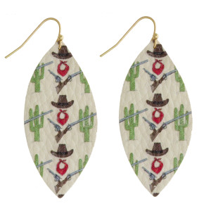 """Oblong drop earrings featuring a cactus inspired print. Approximately 2"""" in length."""