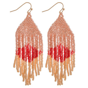"Long pink mix boho beaded earrings. Measures approximately 2.75"" long."