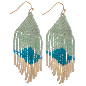 "Long mint mix boho beaded earrings. Measures approximately 2.75"" long."