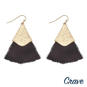 """Long drop earrings featuring fanned tassel details with gold metal accents. Approximately 2"""" in length."""