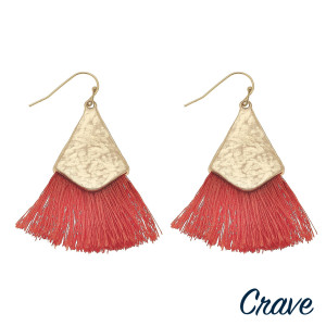 "Long drop earrings featuring fanned tassel details with gold metal accents. Approximately 2"" in length."