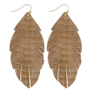"Long feather inspired genuine leather earrings featuring alligator skin. Approximately 3.5"" in length."
