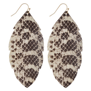 """Long feather inspired genuine leather earrings featuring snakeskin. Approximately 3.5"""" in length."""