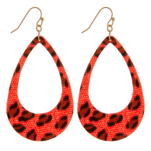 "Neon fabric made teardrop earrings featuring animal print details. Approximately 2.5"" in length."