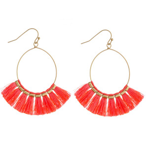 "Dainty teardrop earrings featuring neon tassel details with gold accents. Approximately 2"" in length."