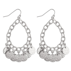 "Chain link inspired teardrop earrings featuring disc accents. Approximately 2"" in length."